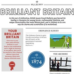 Brilliant Britain Guide from Mulberry by Construct Designs. A fun guide to Britain with a look at Art & Design, Fashion, History and so much more.