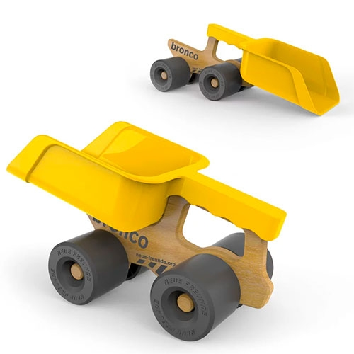 Neue Freunde Bronco - a playful beech wood truck that holds a plastic scoop
