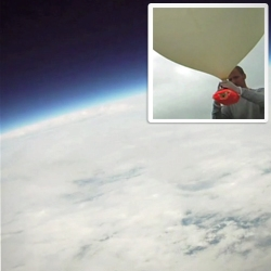 'Homemade Spacecraft' by Luke Geissbuhler (Brooklyn Space Program). High altitude photos/video using a space balloon, a camera, iPhone and tons of ingenuity.