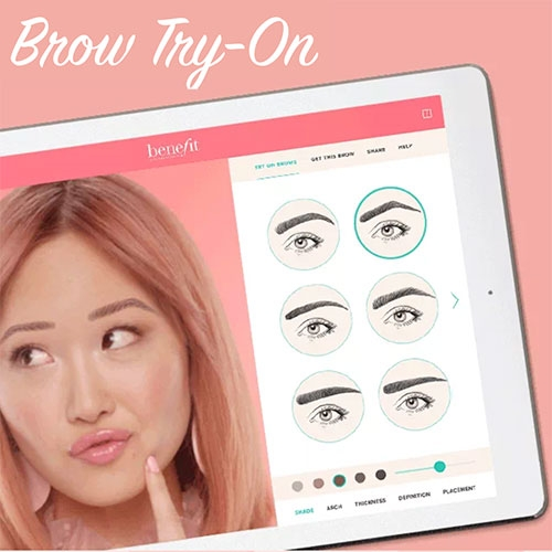 Benefit Brow-Try-On AR tool let's you shift your eyebrow shape, shade, arch, thickness, definition and placement. Created with ModiFace.