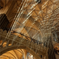 Bruce Munro's Light Shower installation at Salisbury Cathedral.