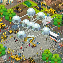 Pixel group eBoy illustrate one of the strangest landmarks in all the world: the Atomium in Brussles. Behold all 9 spheres in all their pixely glory.