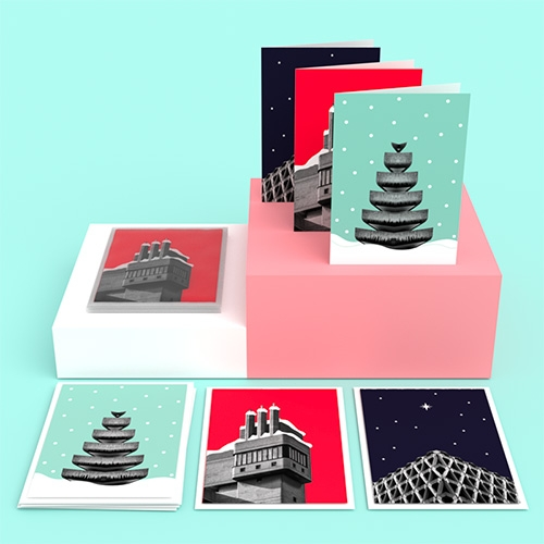 In From The Storm Brutalist Architecture Christmas Cards  featuring The Barbican, Glenkerry House and Welbeck Street Car Park; all with a Dollydagger twist!