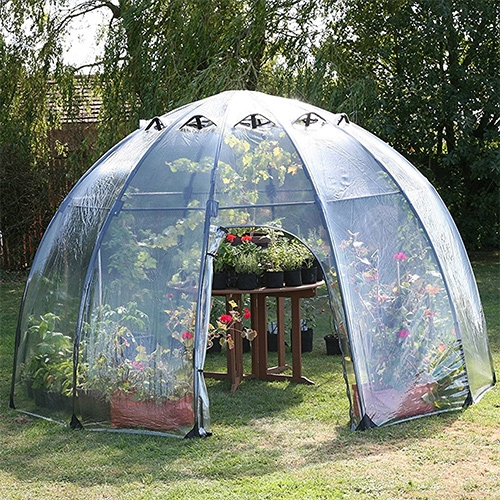 Haxnick's Sunbubble Greenhouse! Currently a NOTCOT tried and loved favorite - its quick to pop up, and easy to pack down into a carrying case - while still large enough to house a lot of plants (and a table and me easily!)