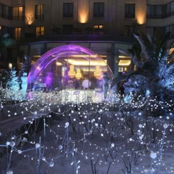 Bubble in Paris, the new champagne bar in Hilton Arc de Triomphe hotel's garden.