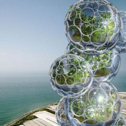 Design Crew for Architecture have created an incredible water purifying skyscraper that looks like dozens of soapy bubbles stacked one on top of another.