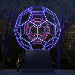 Leo Villareal's BUCKYBALL ~ a huge glowing sculpture will come to NYC in Madison Square Park in Oct 2012.
