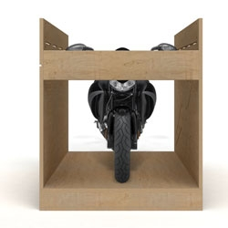 Buell Cratetable, a crate for transporting the Buell motorcycle that can then be turned into a useable workbench. Designed by Michael Kritzer.