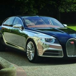 Bugatti 16 C Galibier Concept - Features a two-tone shell with a unique dark blue carbon fiber weave and polished aluminum doors and wings. A two-stage supercharged 8-liter W16 flex-fuel engine pumps out up to 1,000 horsepower.