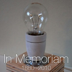 In Memoriam: the Bulb. A specially designed memorial lamp for the glorious bulb that will be forbidden in Denmark from 2010