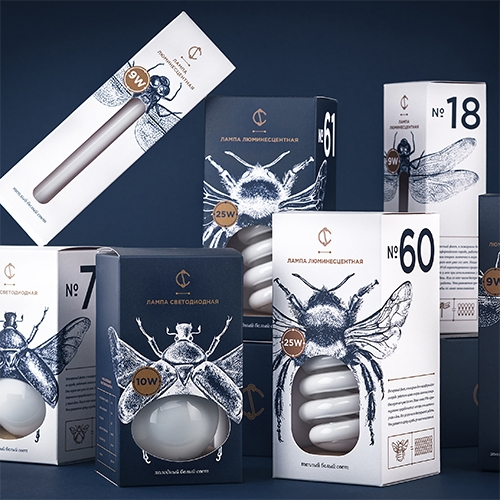 Light bulb packaging design by Angelina Pischikova for CS combines the illustrations of insects and different shapes of light bulbs.