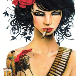 "STUNNING new Brian Viveros print from Think Space ~ limited edition of 12! ""Mess With The Bull"" ~ gorgeous hand embellishing and framing..."