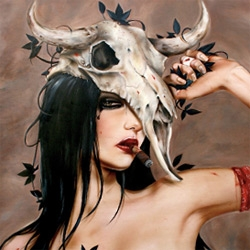 Artist Brian Viveros has a new work titled 'Bull-Headed (The Taurus)' showing at Copro Gallery. This piece is part of beinArt International Surreal Collective group show 'Dystopia' that runs from 3/19-4/9.
