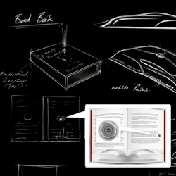 007 + Bentley Special Edition of Carte Blanche. Beyond the sculptural tin the book comes in, each has a numbered silver bullet embedded with in! Check out the sketches and renders up close!