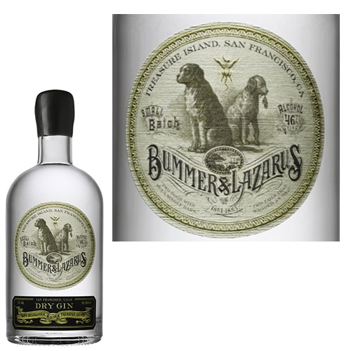 Bummer & Lazarus Dry Gin by Raff Distillerie, Treasure Island, San Francisco. What a label and naming story...