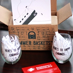 "Bummer Baskets - gift boxes with fun cards, chocolate, etc... ""Here's to happy endings"" wine glasses, ""Beers to happy endings"" pints, ""Here's to happy bubbles"" flutes and more..."