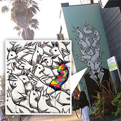 Amazing bunnies of Max Neutra ~ from his venice mural (and making of) to a peek into his solo show with piles of bunnies with an octopus, giraffe, and more!