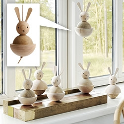 OYOY's adorable wooden Rabbit Nature. Material: Beech and oak wood with a 70cm leather string.