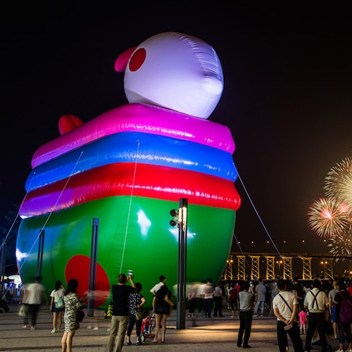 Macao's rabbit lanterns installation is headlined with a 11m tall 18m wide inflatable rabbit with a collection of illuminated rabbits created by artists across Macao and Beijing to celebrate Mid Autumn festival where children walk around with lighted lanterns.