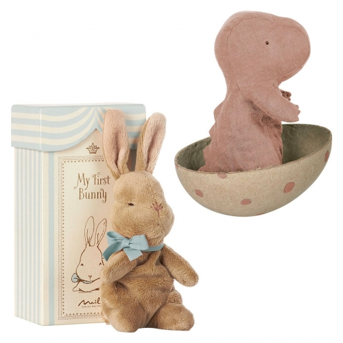 "Maileg Baby Toys - my favorites are ""My First Bunny"" and the linen Gantosaurus. Both have great gift packaging! The dino egg is a great detail."