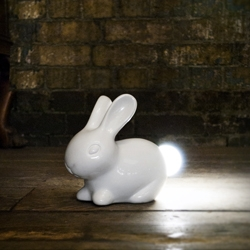 Suck UK's Bunny Lamp - porcelain white rabbit with a light-up tail ~ adorable!