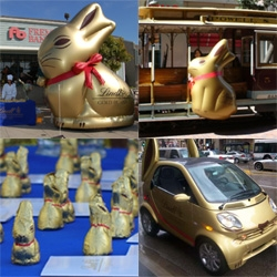 For easter the Lindt Bunnies and the Lindt Bunny Smart Car have been making the rounds in SF, Chicago, NY, Boston.