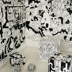 Jon Burgerman's  On The Wall is a show of improvised wall drawings that bleed beyond the hung frames. From 5th May until 16th June (not open Sundays). Spuistraat 250, Amsterdam, Concrete Image Store.