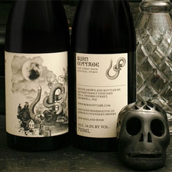 Packaging for Burn Cottage wines from MASH takes inspiration from Von Goethe' 'The Green Snake and the Beautiful Lily'.