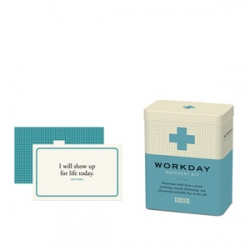Knockknock's Workday Recovery Kit includes a remedy booklet, a bracelet, affirmation cards, bandages, metal charm and certificate of recovery. A perfect first aid kit for your burnout.