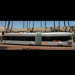 A 65-foot-long bus that can hold 100 passengers will debut on the Los Angeles Orange Line busway next week.