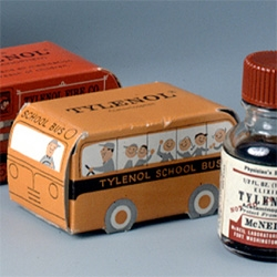 Vintage children's tylenol packaging ~ little bus boxes!