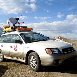 "Subaru Outback modded to match the Ectomobile.  For many it is nothing more than a myth, ""Hey I saw the Ectomobile!"" ""Yeah, we've all seen ghostbusters..."""