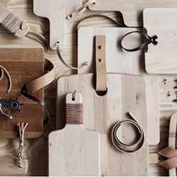 DIY Inspiration ~ clean up some simple wood cutting boards with leather!