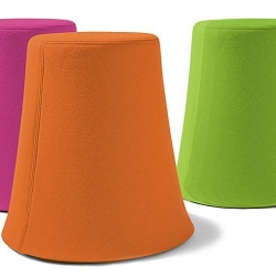 On the subject of library stools: Buzzispace makes felt out of recycled PET bottles, and uses it for screens and other objects, including these colourful covers for library and office stools.