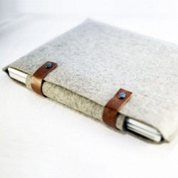 Beautiful grey felted laptop sleeves and denim printed pencil cases by Angie Davis of byrdandbelle