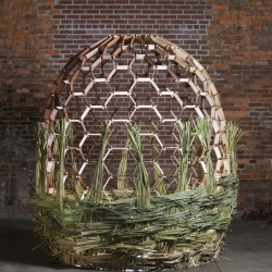FABRICATED HARVEST is an installation by John Adams and Ricki Dwyer who combined digital fabrication and traditional basket weaving.