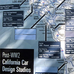Map of California's Post WWII Automotive Design Studios