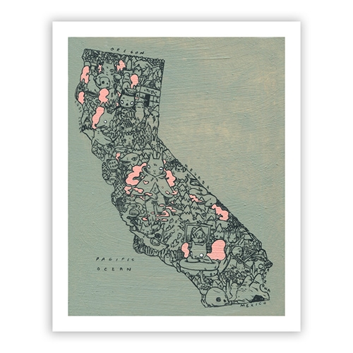"Deth P. Sun's ""California"" Print - Signed and numbered by the artist. Edition of 100."