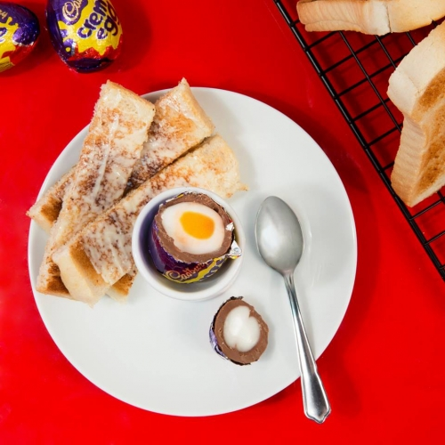 Cadbury has launched a Creme Egg Cafe in London. Complete with neon signs, creme eggs and soldiers, creme egg toasties, a ball pit and creme eggs in all kinds of decorative forms.