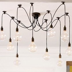 Interesting Edison Chandelier from Pottery Barn ~ with an array of different bulbs and arrangements you could certainly get creative... interesting concept