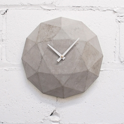 The National Design Collective of Toronto, designed this minimalist diamond inspired concrete wall clock featuring a high quality Seiko quartz mechanism.