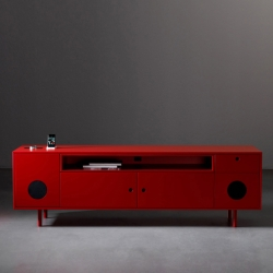 Caixa by Paolo Cappello is a cabinet with integrated ipod/tv speakers, its design reinterprets the aestethics of the 50's with vibrant and bright colors.