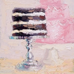 """Let Them Eat Cake"" Jordan Ferney art directs as her husband, Paul Ferney, paints delectable cakes on cake stands in oil paints! And of course there will be cake at the show opening!"
