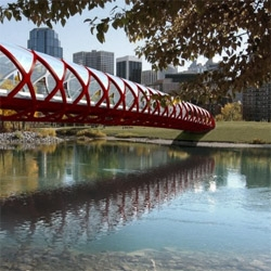 A red tubular structure by famous spanish architect Santiago Calatrava will help over 5,000 people from Calgary, Canada to commute  in and out of the city by either foot or bike.