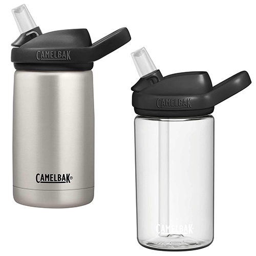 Camelbak Eddy+ Kids bottles. Amongst a sea of candy colored bottles (often with terrible graphics) it's nice to have clean black/clear and black/stainless options in kids sizes (12oz/14oz) that are easy enough for our one year old to drink from!