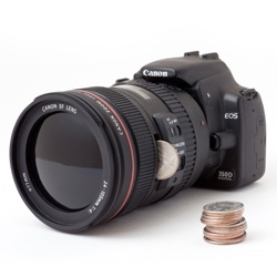 dSLR Camera Bank... yes, like a coin bank. Somewhere between the ultimate tease of a gift and a nice way to save up while you try to buy your dream camera? You're going to need a lot of coins to buy one though!