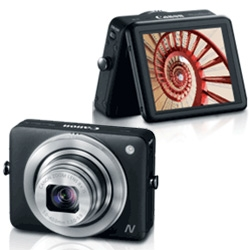 The new Canon Powershot N, a 12 Megapixel compact with tilt-able 2.8'' inch touchpanel display, 28mm wide angle lens, 1080p video recording, smartphone sharing, and built-in WiFi.
