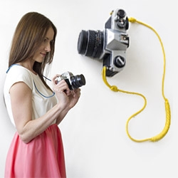 Fleet Objects Albright Camera Strap. Made with canvas, grommets and colorful 550 paracord.