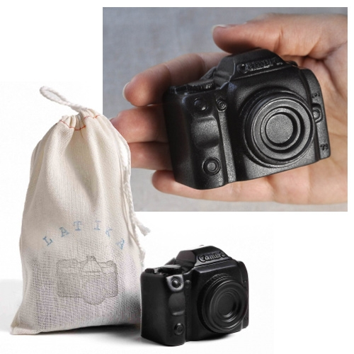 Latika Camera Soap - a mini Canon camera made of activated charcoal soap.