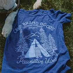 Camp Brand Goods PAWSITIVE VIBES t-shirt for The Calgary Humane Society featuring their adorable sheepdog, Otis! One for all the camping + dog lovers.